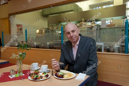 Stephen Evans BBC correspondent Stephen Evans tests a breakfast at Lindner Canteen in Berlin