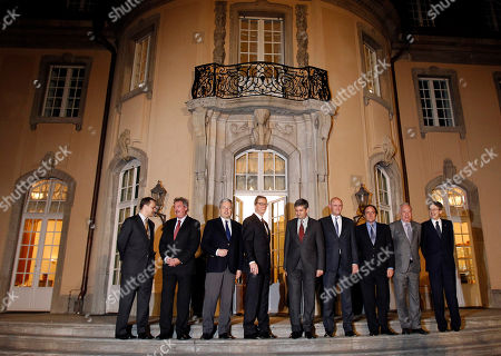 The Foreign Ministers from Poland, Radoslaw Sikorski, Luxembourg, Jean Asselborn, Belgium, Didier Reynders, Germany, Guido Westerwelle, Austria, Michael Spindelegger, the Netherlands, Uri Rosenthal, Portugal, Paulo Portas, Spain, Jose Manuel Garcia-Margallo, Italian, Giulio Terzi di Sant' Agata, from left, pose in front of the Villa Borsig, the guesthouse of the German Ministry, during a meeting in Berlin, Germany