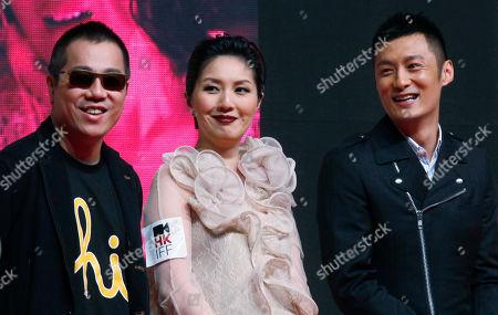 """Pang Ho-cheung, Miriam Yeung, Shawn Yue From left, Hong Kong director Pang Ho-cheung, actress Miriam Yeung and actor Shawn Yue pose at the movie premiere of """"Love in the Buff"""" in Hong Kong"""