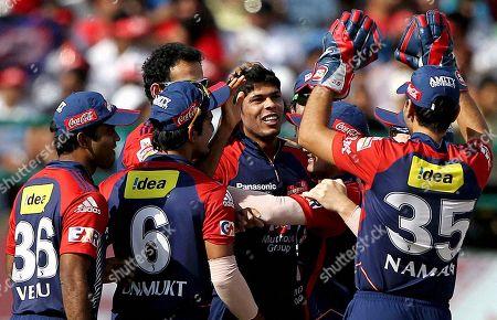 Umesh Yadav Delhi Daredevils' Umesh Yadav, center, celebrates the dismissal of Kings XI Punjab's David Hussey during their Indian Premier League cricket match in Dharmsala, India