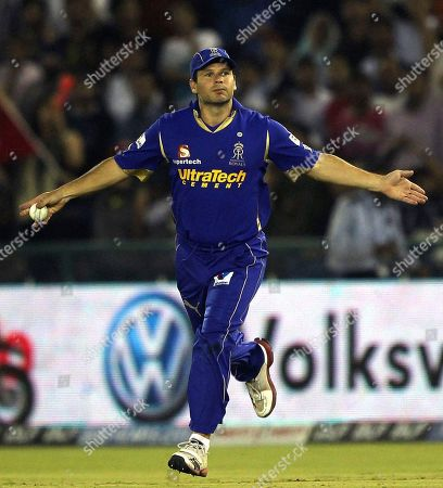 Rajasthan Royals' Brad Hodge celebrates the dismissal of Kings XI Punjab's David Hussey during their Indian Premier League cricket match in Mohali, India