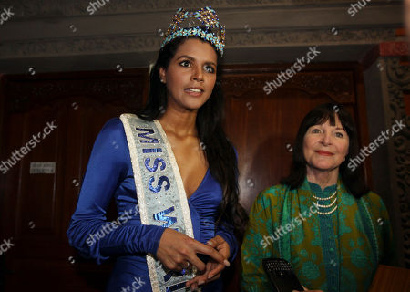 Ivian Sarcos Julia Morley Miss World Ivian Sarcos from Venezuela, left, and Chairwoman of Miss World Organization Julia Morley, right, talk to reporters during their visit at Bali's governor office in Denpasar, Bali, Indonesia, Wednesday April, 25, 2012. Sarcos and Morley will attend Miss Indonesia 2012 as special guests. The national beauty pageant will be held on April 28