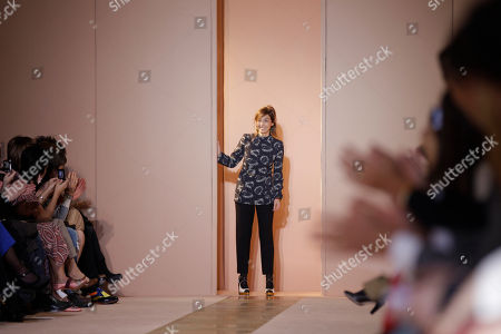 Stock Picture of Fashion designer Consuelo Castiglioni appears at the end of the Marni women's Fall-Winter 2012-2013 collection that was presented in Milan, Italy, Sunday, Feb.26, 2012