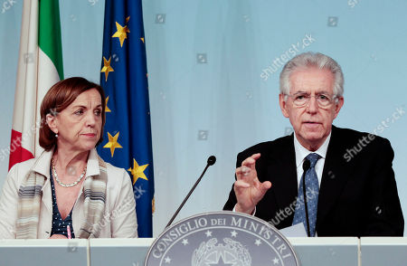 Mario Monti, Elsa Fornero Italian Premier Mario Monti, right, and Welfare Minister Elsa Fornero meet the journalists at Chigi palace, Premier's office, at the end of a Cabinet Ministers meeting, in Rome