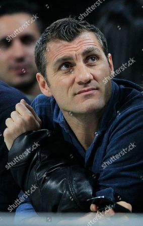 Former soccer forward Christian Vieri looks on during a Champions League first leg quarterfinals soccer match, between AC Milan and Barcelona, at the San Siro stadium, in Milan, Italy, Wednesday, March, 28, 2012