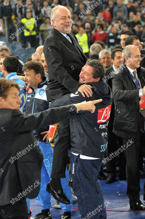 Napoli' President Aurelio De Laurentis celebrates winning the Italian Cup soccer final after beating Juventus 2 - 0 at the Olympic Stadium in Rome, Italy