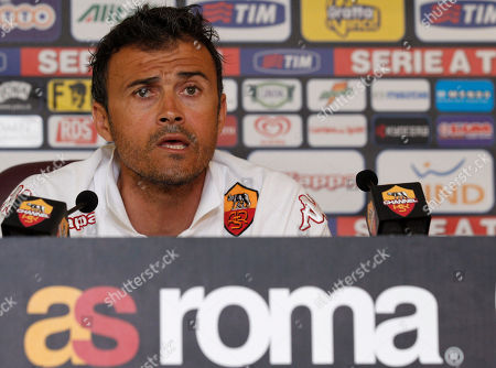 Louis Enrique Roma coach Luis Enrique of Spain speaks to the media during a news conference in Rome, . The Spanish coach informed of his decision to quit and said he will take a year off from football after his last game with the Serie A club Sunday