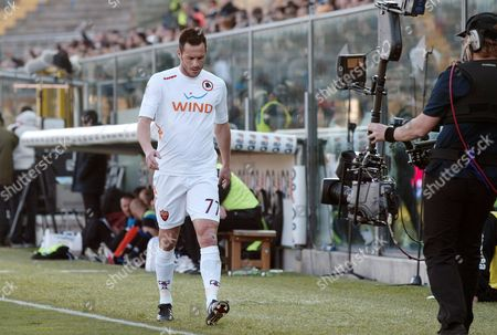 Marco Cassetti AS Roma's defender Marco Cassetti walks off the pitch after receiving the red card during a Serie A soccer match between Atalanta and AS Roma in Bergamo, Italy