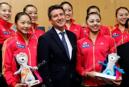 Airi Hatakeyama, Sebastian Coe, Yuka Yokota Sebastian Coe, former two-time Olympic 1,500-meter champion and chairman of the London 2012 Olympic Games, poses with Japanese rhythmic gymnasts Airi Hatakeyama, left, and Yuka Yokota, right, at the end of a press conference in Tokyo, . Coe visited Tokyo to report that London's preparations are on schedule. Mascots for the London 2012 held by the gymnasts are Olympic's Wenlock, left, and Paralympic's Mandeville