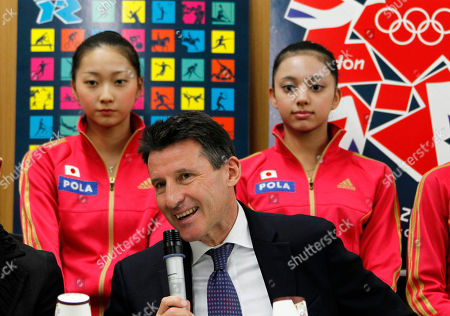 Airi Hatakeyama, Sebastian Coe, Yuka Yokota Sebastian Coe, former two-time Olympic 1,500-meter champion and chairman of the London 2012 Olympic Games, speaks in front of Japanese rhythmic gymnasts Airi Hatakeyama, left, and Yuka Yokota, right, during a press conference in Tokyo, . Coe visited Tokyo to report that London's preparations are on schedule