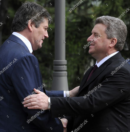 Bamir Topi, Gjorge Ivanov Albanian President Bamir Topi, left, is welcomed by his Macedonian counterpart Gjorge Ivanov, right, upon his arrival to the Presidential office in Skopje, Macedonia, on . President Topi is on a two-day official visit to Macedonia