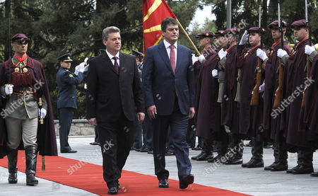 Bamir Topi, Gjorge Ivanov Albanian President Bamir Topi, center right, is welcomed by his Macedonian counterpart Gjorge Ivanov, center left, upon his arrival to the Presidential office in Skopje, Macedonia, on . President Topi is on a two-day official visit to Macedonia