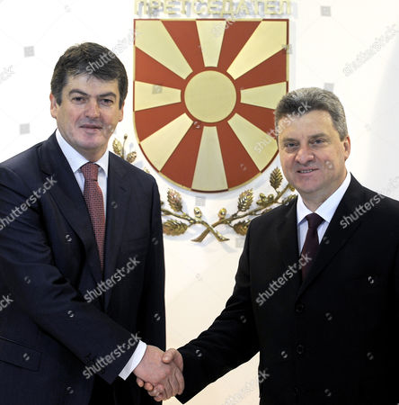 Bamir Topi, Gjorge Ivanov Albanian President Bamir Topi, left, and his Macedonian counterpart Gjorge Ivanov, right, pose for the media during thair meeting in the Presidential office in Skopje, Macedonia, on . President Topi is on a two-day official visit to Macedonia