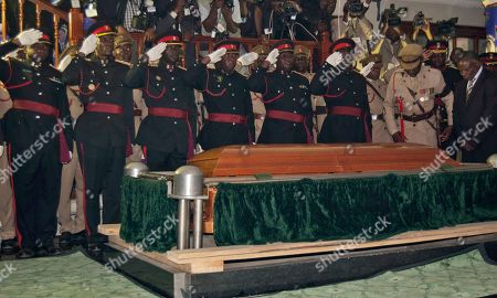 Stock Picture of Bingu wa Mutharika The coffin of the late Malawian president Bingu wa Mutharika is laid to rest at a state funeral in Blantyre, Malawi, . Mutharika died April 5 after suffering a heart attack. He was 78 years old