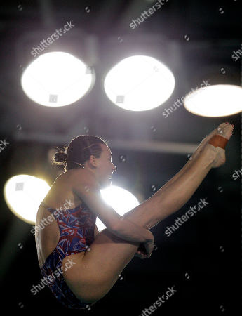 Monique Gladding of the UK performs during the preliminaries of the women's 10 meters platform event of the European Championships Diving and Synchronized Swimming at Pieter van den Hoogenband stadium in Eindhoven, south central Netherlands