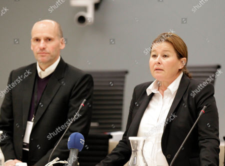 Breivik lawyers Geir Lippestad, left, and Vibeke Hein address the media inside the courtroom on the second day of the trial against Anders Behring Breivik, in Oslo, Norway. Breivik is on trial to face terrorism and premeditated murder charges, Breivik confessed to killing 77 people in a bomb-and-shooting massacre on July 22, 2011