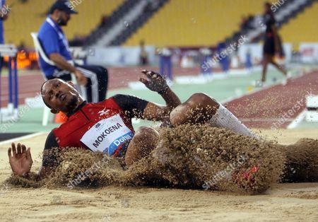 Godfrey Mokoena of South Africa jumps during the Long Jump men's at the IAAF Diamond League meeting in Doha, Qatar