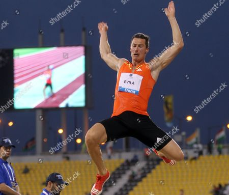 Finland's Tommi Evila competes in the men's long jump at the IAAF Diamond League in the Qatari capital Doha