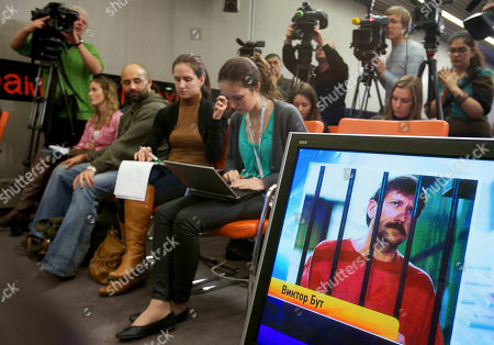 Stock Image of In front, . Viktor Bout, a Russian arms dealer who was convicted in the United States on terrorism charges and sentenced to 25 years in prison, asked Russia on Thursday to file a lawsuit against the U.S. and Thailand on his behalf