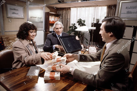 Stock Image of Heather Sears with Frank Finlay (left) and Andrew Burt in 'Tales Of The Unexpected' - Episode: 'There's One Born Every Minute'