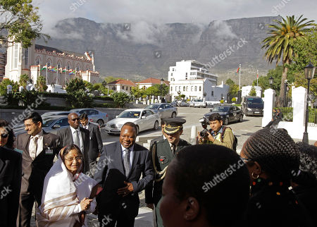 Pratibha Devisingh Patil Indian President Pratibha Patil greets people during her arrival at Parliament, with Table Mountain seen in the background, in Cape Town, South Africa, . Patil is on an official state visit to the country