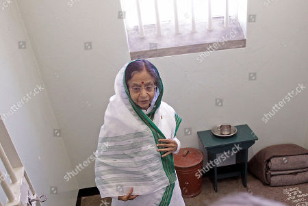 Pratibha Patil Indian President Pratibha Patil, stands inside the cell of former South African President Nelson Mandela on Robben Island situated near Cape Town, South Africa, . Patil is on an official state visit to the country