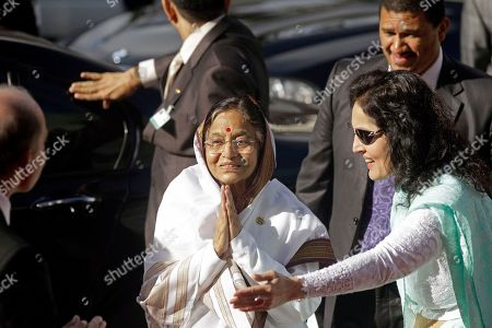 Stock Image of Pratibha Devisingh Patil Indian President Pratibha Patil greets people during her arrival at Parliament in Cape Town, South Africa, . Patil is on an official state visit to the country