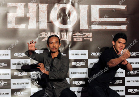 "Iko Uwais, Yayan Ruhian Indonesian actor Iko Uwais, right, and Yayan Ruhian pose during a press conference to promote their movie ""The Raid: Redemption"" in Seoul, South Korea"