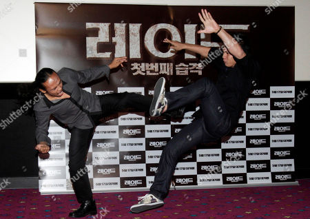 "Iko Uwais, Yayan Ruhian Indonesian actor Iko Uwais, right, and Yayan Ruhian demonstrate martial arts during a press conference to promote their movie ""The Raid: Redemption"" in Seoul, South Korea"