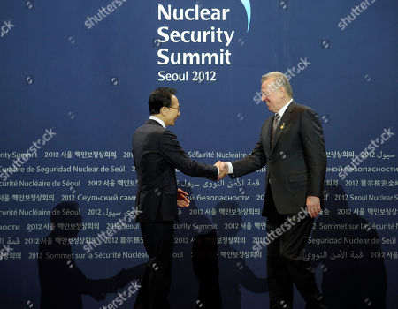 Lee Myung-bak, Pal Schmitt South Korean President Lee Myung-bak, left, greets Hungarian President Pal Schmitt during a welcome ceremony for the Nuclear Security Summit at the Coex Center, in Seoul, South Korea