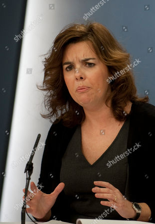 Soraya Saenz de Santamaria Spain´s Deputy Primer Minister Soraya Saenz de Santa Maria speaks during a news conference at the Moncloa Palace in Madrid, . Freedom of information in Spain came one step nearer Friday after the recently-elected government agreed to introduce a bill in response to widespread disgust over corruption and mismanagement by elected officials of both main political parties