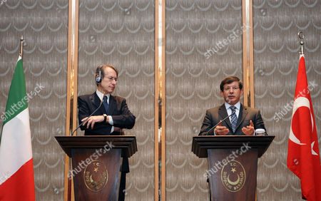 Ahmet Davutoglu, Giulio Terzi di Sant' Agata Turkish Foreign Minister Ahmet Davutoglu, right, and his Italian counterpart Giulio Terzi di Sant' Agata speak to the media during a news conference in Istanbul, Turkey