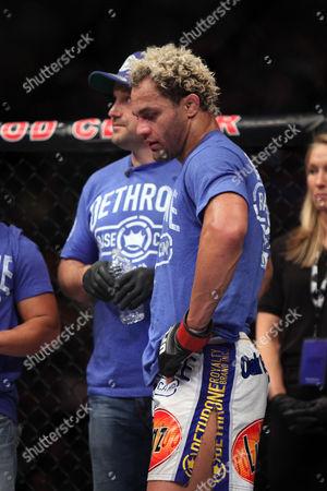 Josh Koscheck Josh Koscheck looks djected after his bout against Johny Hendricks at UFC on Fox at the Izod Center in E. Rutherford, NJ on . Hendricks won via split decision