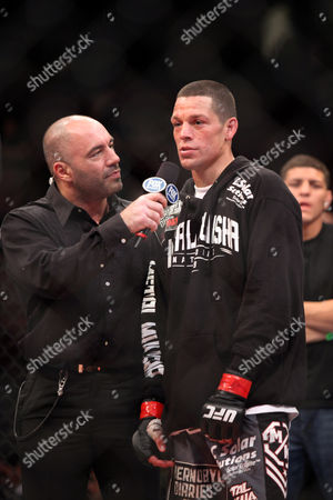 Nate Diaz, Joe Rogan Nate Diaz is seen with announcer Joe Rogan after his bout on UFC on Fox at the Izod Center in E. Rutherford, NJ on . Diaz won via tapout due to the choke in round 2