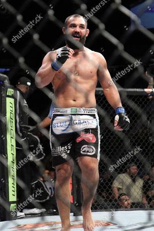 Stock Picture of Johny Hendricks Johny Hendricks is seen at the final bell of his fight against Josh Koschek at UFC on Fox at the Izod Center in E. Rutherford, NJ on . Hendricks won via split decision