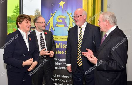 First Minister Rt. Hon. Arlene Foster with Education Minister Peter Weir, Chief Executive of Education Authority Gavin Boyd and Deputy First Minister Martin McGuinness