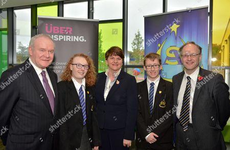 Deputy First Minister Martin McGuinness First Minister with Head Girl Dearbhla Brogan, Rt. Hon. Arlene Foster, Head Boy Ethan Tracey and Education Minister Peter Weir