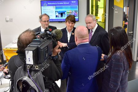 Education Minister Peter Weir, First Minister Rt. Hon. Arlene Foster and Deputy First Minister Martin McGuinness give Television news interviews