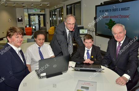 First Minister Rt. Hon. Arlene Foster with Pupil Chantelle Salaja, Education Minister Peter Weir, Pupil Calvin Hamilton and Deputy First Minister Martin McGuinness