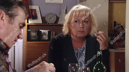 Stock Picture of In a bid to put their argument behind them, Eileen Grimshaw, as played by Sue Cleaver, asks Vinny, as played by Ian Kelsey, to stay for tea. But when she reveals that she's left Streetcars so she can spend more time on the building project, Vinny is even more furious. (Ep 9005 - Monday 3rd October 2016)