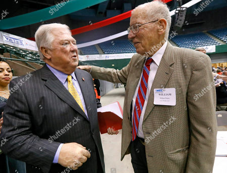 """Haley Barbour, William Winter Former Mississippi governors, Haley Barbour, lef,t a Republican, and William Winter, a Democrat, trade greetings at the Mississippi Economic Council's annual """"Hobnob Mississippi,"""" in Jackson, Miss"""