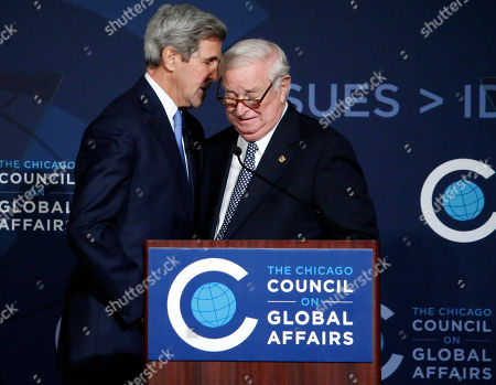 Editorial image of John Kerry, Chicago, USA - 26 Oct 2016