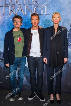 Stock Picture of Scott Derrickson, Benedict Cumberbatch, Tilda Swinton