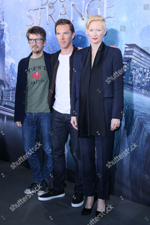 Stock Image of Scott Derrickson, Benedict Cumberbatch and Tilda Swinton