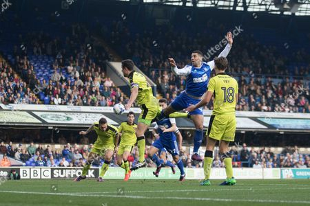 Leon Best attacks the ball - Ipswich Town v Rotherham United
