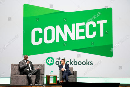 Stock Image of Shaquille O'Neal inspires attendees during a fireside chat with entrepreneur Bill Rancic at the third annual QuickBooks Connect on in San Jose, Calif