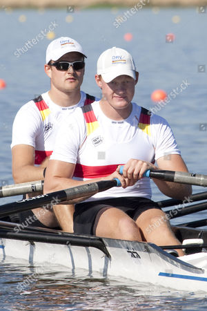 Stock Image of German team, KNITTEL Eric Krueger Stephan competing in the men's Double Sculls at the 2010 European Rowing Championships held at the aquatic centre, Montemor-o-Velho, Portugal.