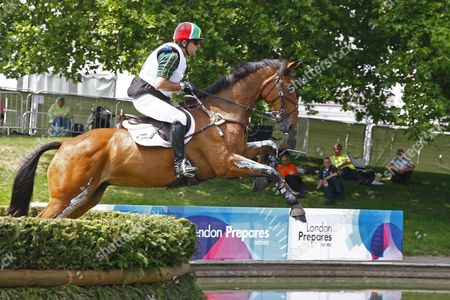 Paul Hart (RSA) riding Carlow Miller competing in the cross country phase of the London 2012 Olympic equestrian test event held in the Royal Greenwich Park London.