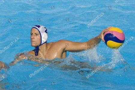 Peter Varellas USA team player competing preliminary round waterpolo match between USA and Macedonia in the 13th Fina World Aquatics Championships USA won the match 13-8.