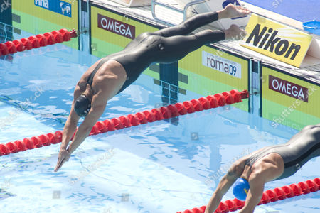 Stock Photo of Maxim Podoprigora (AUT) competing in the qualifying rounds of the men's 200m breaststroke, at the 13th Fina World Aquatics Championships held in the The Foro Italico Swimming Complex.